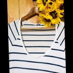 BRANDY MELVILLE 3/4-Sleeve Shift Tee Navy Stripe S